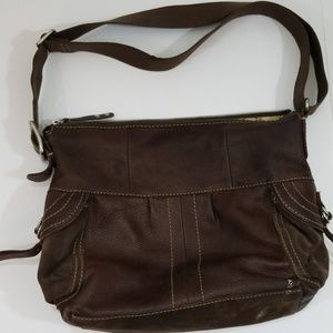 Fossil leather and suede shoulder bag